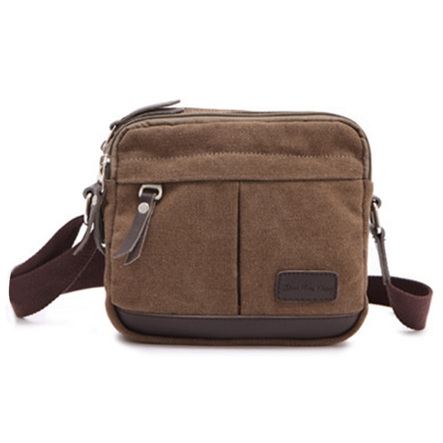 72da606402 NEW Men Small Style Sholder Bags Classic Coffee Canvas Zipper Travel Bags  for Men Vintage Messenger Bag