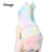 Oswego Unicorn Animal Backpacks Cute Cartoon Girls Colorful Faux Fur Shouler Bags Cool Design Removable Hat