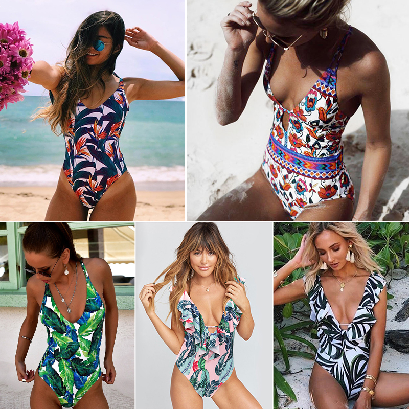 1e7ea9562cd Ashgaily 2018 New One Piece Swimsuit Sexy Cartoon Printed Swimwear Women  Bathing Suit Beach Backless Monokini Swimsuit Female