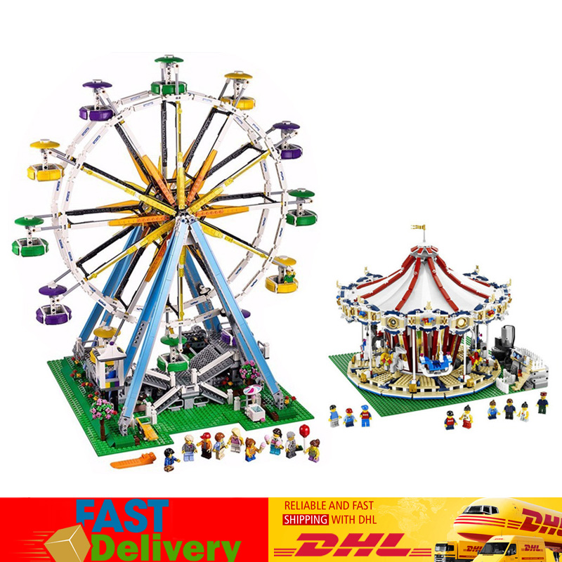 LEPIN 15013 City Street Grand Carousel 15012 Ferris Wheel Compatible LegoINGlys 10196 10247 Building Blocks Brick Toys Gifts lepin 15013 city street carousel model building kits assembling blocks toy legoing 10196 educational merry go round gifts