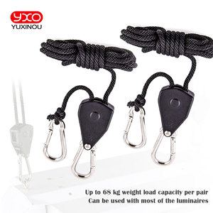"Image 1 - Useful Adjustable 1 Pair 2 PCS 1/8"" Rope Ratchet Lights Lifters Reflector Led Grow Light Hangers Zinc Alloy Hook Plastic Pulley"