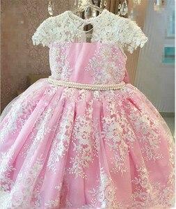 Image 2 - Princess Pearls Appliques Pink Flower Girl Dress O neck Ball Gowns for Little Baby vestidos de primera comunion 2019