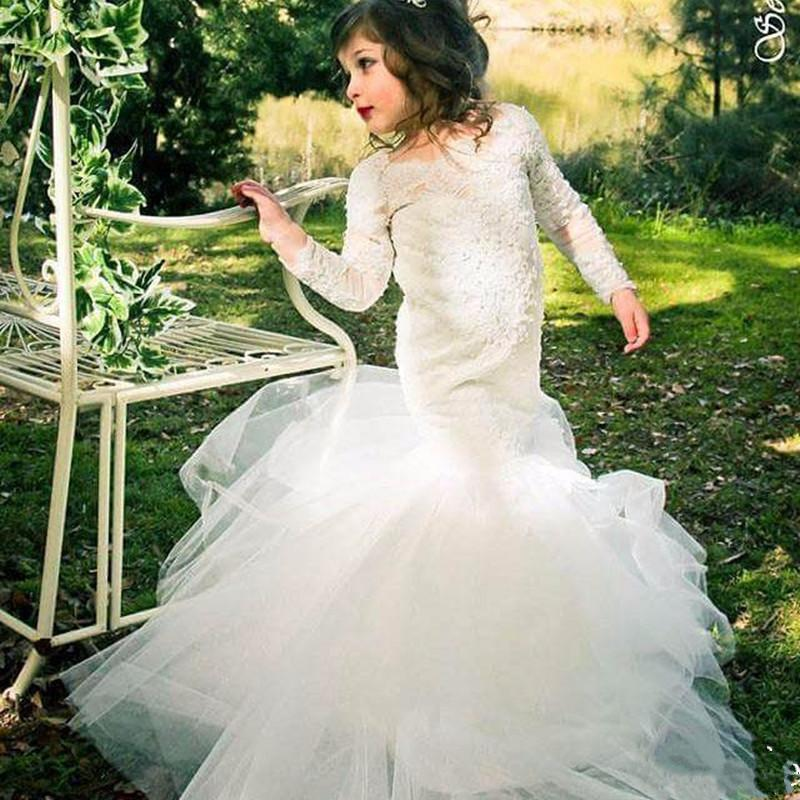 2017 New Flower Girl Dresses Hot White/Ivory Long Sleeves O-Neck Appliques Mermaid Formal Tulle First Communion Gowns Vestidos new white ivory flower girl dresses for wedding 3d flowers puffy tulle with big bow girls first communion gowns