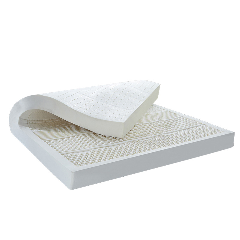 10CM Thickness Ventilated Seven Zone Mold 100% Natural Latex Mattress Topper With White Inner Cover Medium Soft Bed Mattress