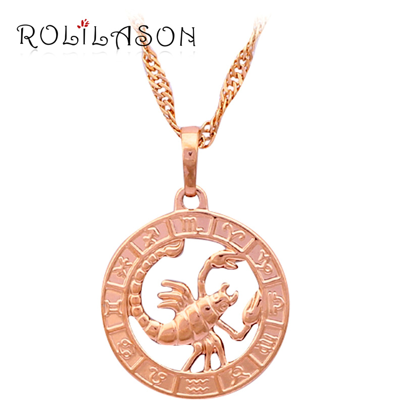 12 Constellation Round Scorpio design glittering Necklace gold tone Fashion Jewelry Necklace & Pendants LN453