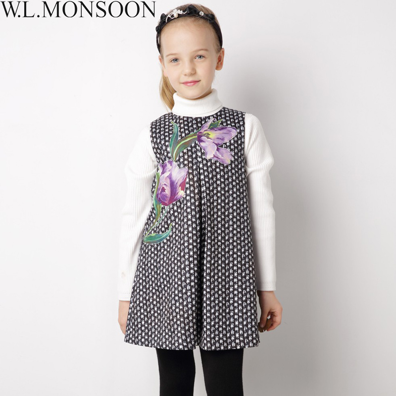 W.L.MONSOON Toddler Girl Dresses with Embroidered Flower Brand Girls Winter Dress Christmas Princess Costume for Kids Clothes