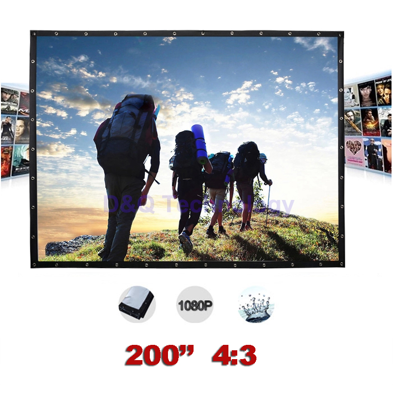 Outdoor Projector Screen 200 inches 4:3 Portable Canvas Projection screens Folding for Outdoors, Travel, Large-scale exhibition hd projector projection screen 300inch 16 9 format outdoor fast folding frame screens for camping music party