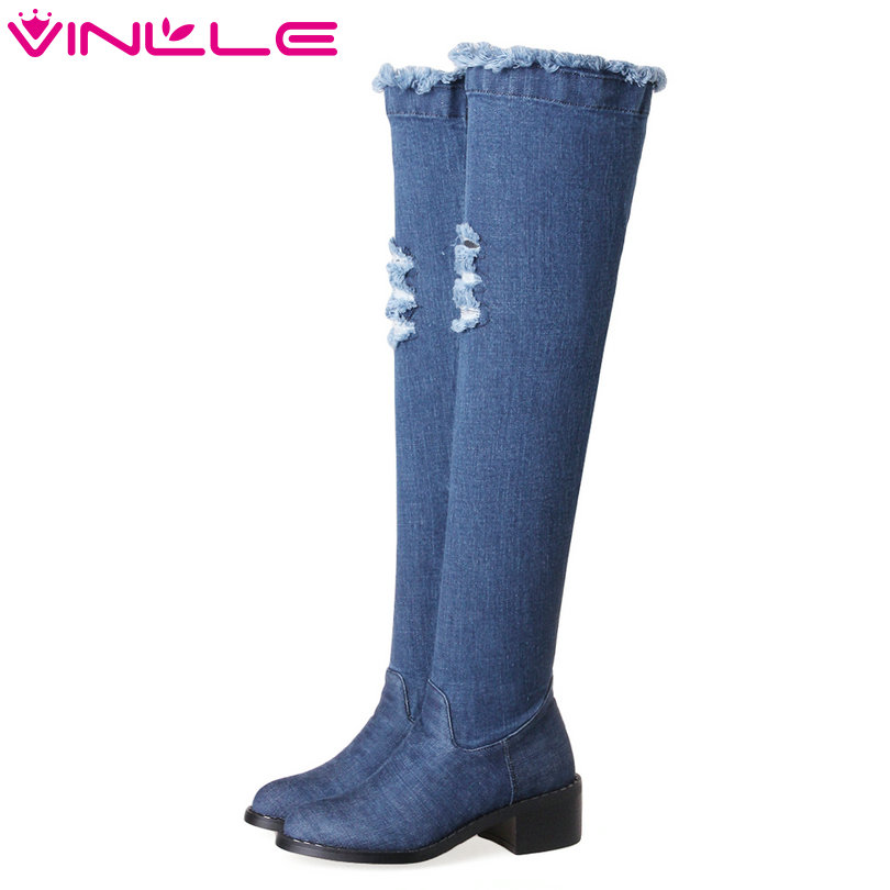 VINLLE 2018 Woman Boots Over The Knee Boots Ladies Square Med Heel Solid Denim Women Shoes Winter Motorcycle Boots Size 34-43 2018 sexy black flock square high heel fashion woman over the knee boots women shoes ladies motorcycle boots size 34 43