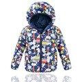 2015 Girls & Boys invierno Duck Down abrigos los niños de dibujos animados de impresión con capucha chaquetas de calidad superior de los cabritos prendas de vestir exteriores termal 4-8Y