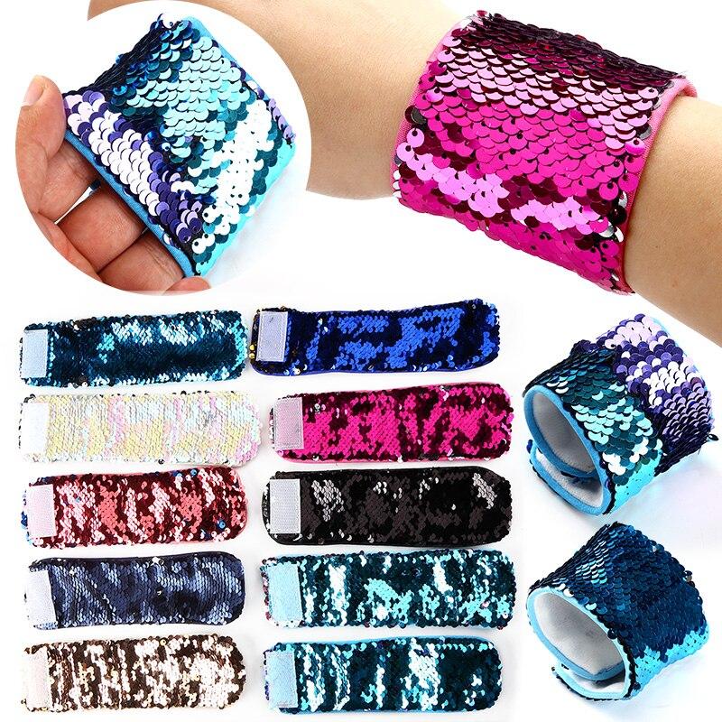 Rainbox Discoloration Plush Magic Hook & Loop Sequin Mermaid Bracelet Wristband Cuff Stuffed Plush Toys For Children Grownups недорго, оригинальная цена