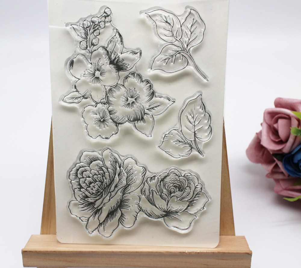 Flower Background DIY Silicone Clear Stamp Cling Seal Scrapbook Embossing Album Kimnny Clear Stamp