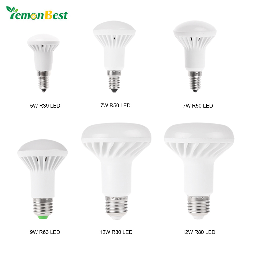Lemonbest SMD5730 LED Bulb E14 E27 R39 R50 R63 R80 5W 7W 9W 12W LED Bulb Warm White&Cold White Light Lamp AC 85-265V jrled e27 12w 1000lm 3300k 60 smd 2835 led warm white horizontal lamp white silver ac 85 265v