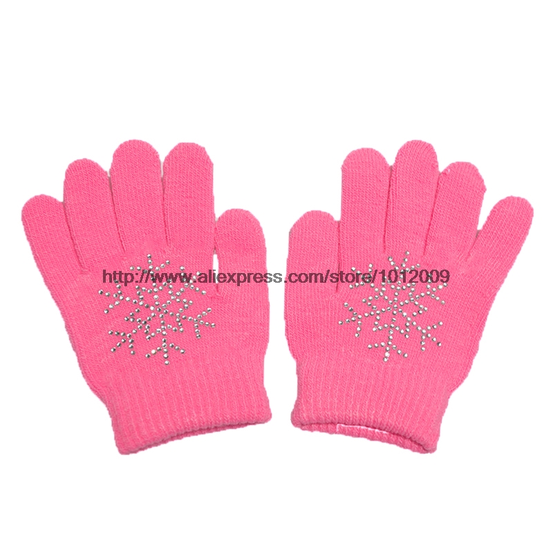 10 Colors Magic Wrist Gloves Figure Skating Ice Training Gloves Exquisite Warm Fleece Thermal Child Adult Snow Rhinestone 7