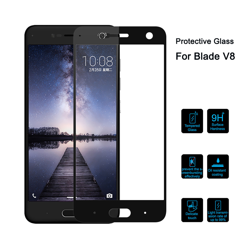 Tempered Glass On For ZTE Blade V8 5.2 Inch Full Cover Protective Glass For Zte Blade V8 BV0800 V0800 Screen Protector Glas V 8