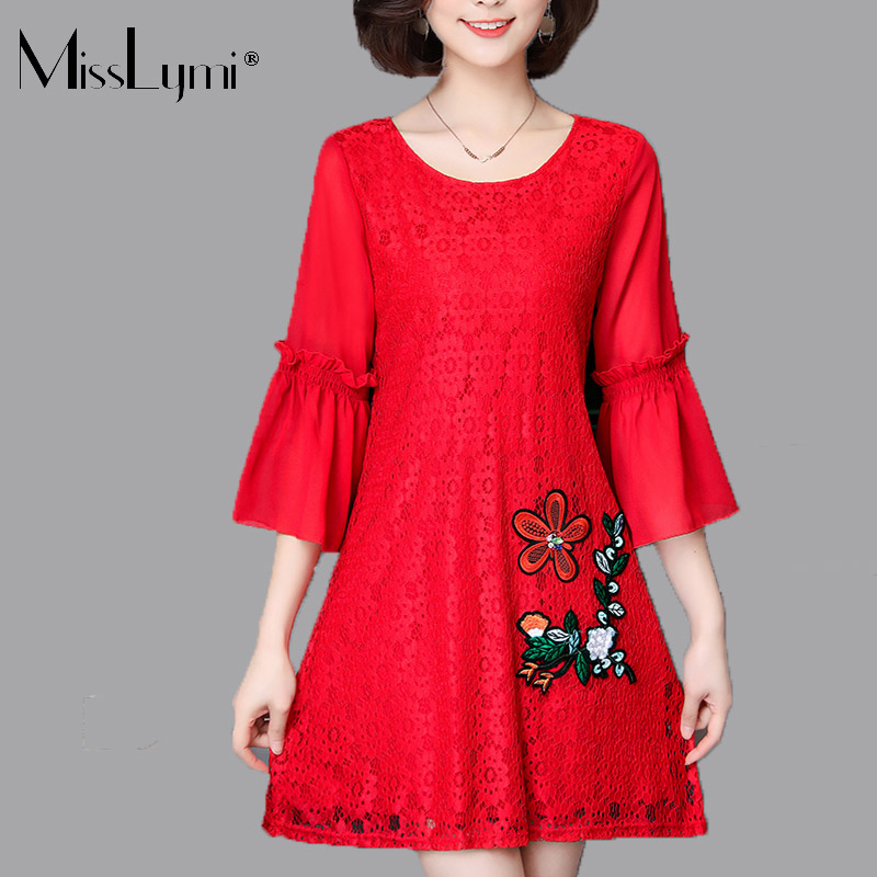 MissLymi M-5XL Plus Size Women Lace Dresses Red 2018 Spring Korean Loose Flowers  Embroidery a1f779d3af71