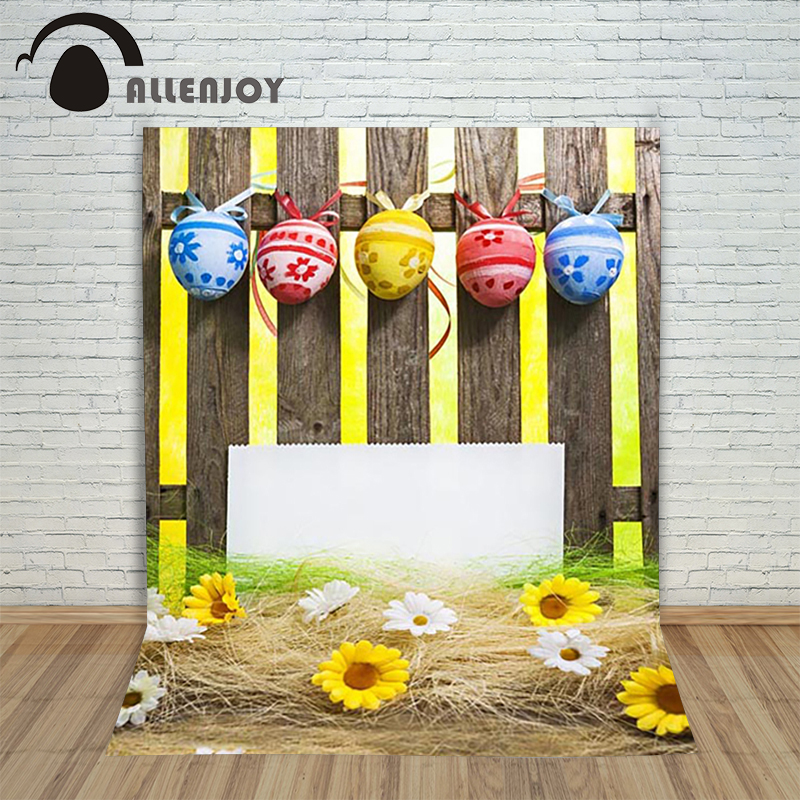 Allenjoy Easter backdrop Happpy eggs Small flowers fence ribbon custom photographic camera photocall