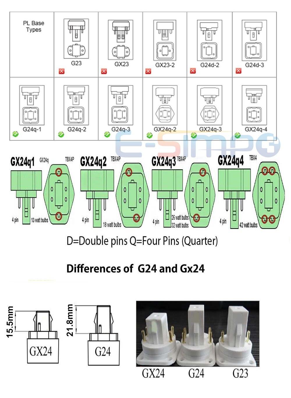 6pcs Gx24q to E26/E27adapter, 4Pin,15.5mm,GX24 to E27 converter, G24q to  e26 e27 adaptor 4Pin CFL light socket adapter|e27 converter|e27 to e27e27  e27 - AliExpress | Gx 24 4 Pin Adapter Wiring Diagram |  | AliExpress