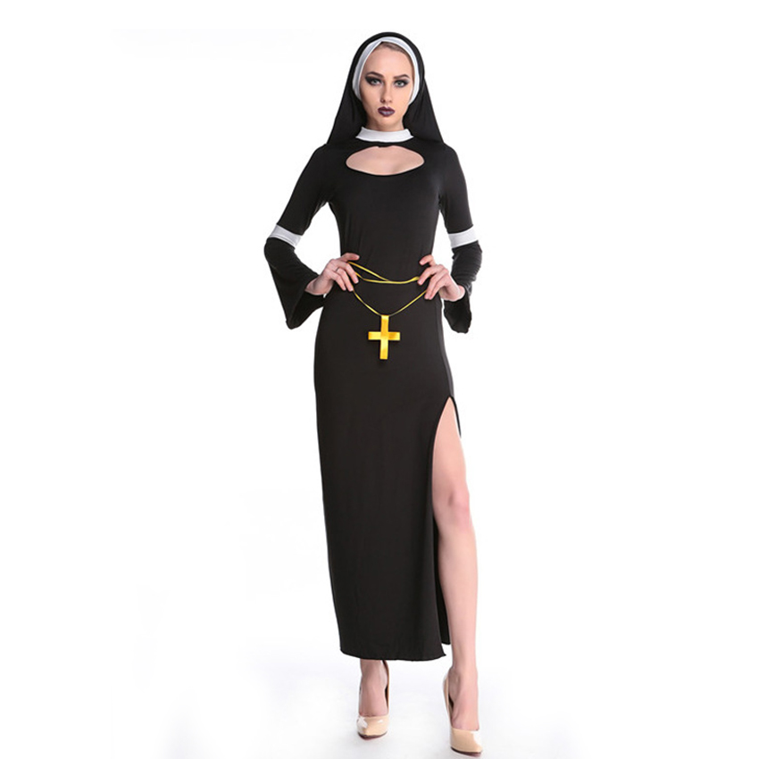 Black Sexy Nun Costume Virgin Mary Nun Dress Halloween Costume For Women Fancy Part Outfit Halloween Dress with Headscarf in Movie TV costumes from Novelty Special Use