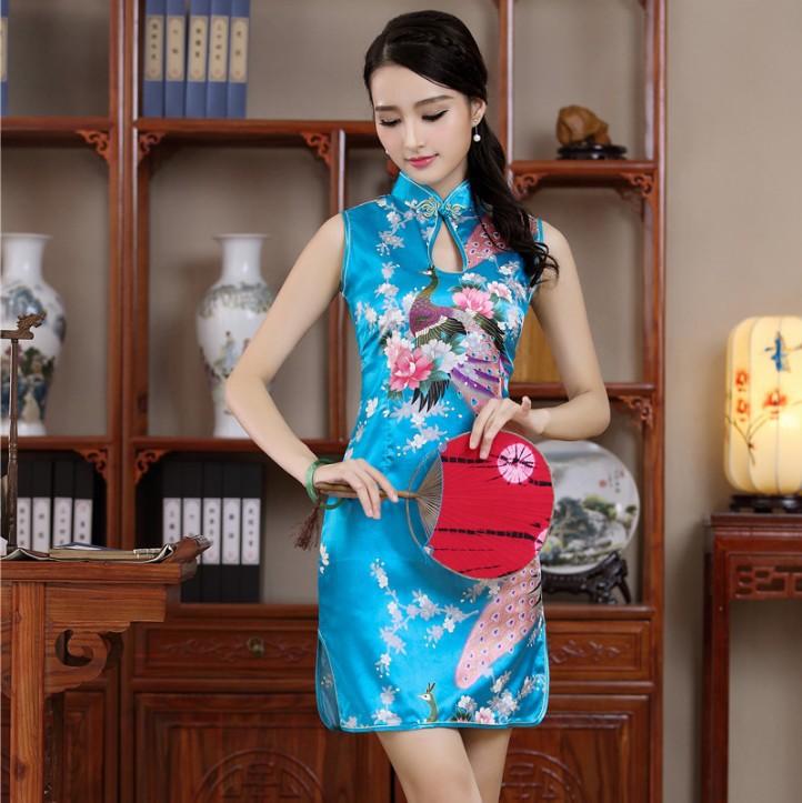 IMG 9999 719. Blue Chinese Lady Evening Party Dress Short Sleeve Cheongsam  Qipao ... 2319a3c8976c