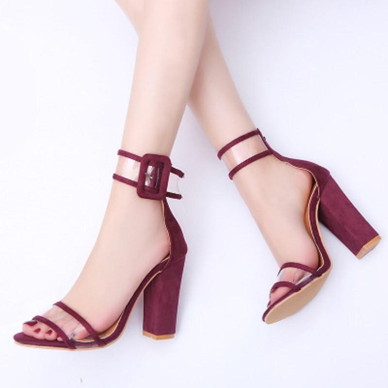 2018 сезон весна-лето Новые популярные модели популярны в Европа и США большой с толстой пряжкой женские туфли на высоком каблуке песок