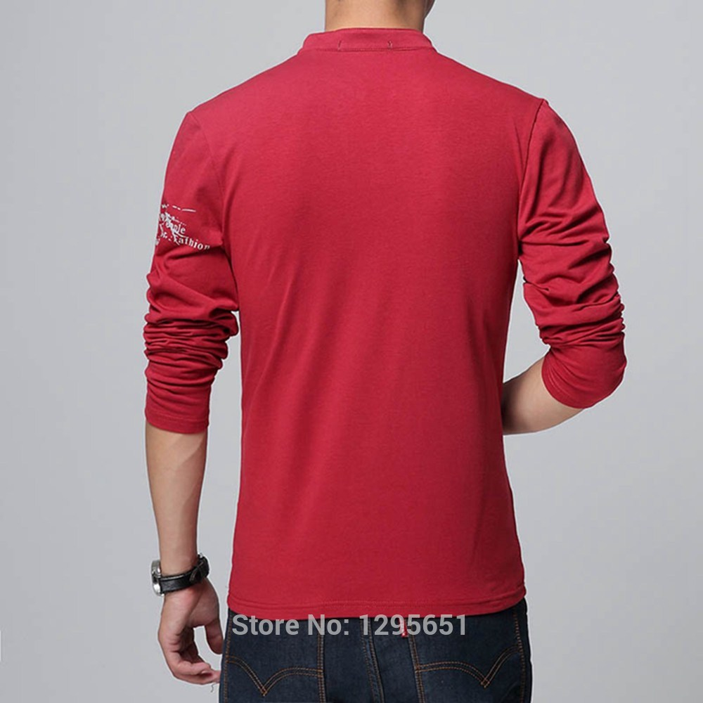 Black t shirt red collar - Black T Shirt Red Collar Online Shop Stylish Stand Collar Men Casual Cotton T Shirt
