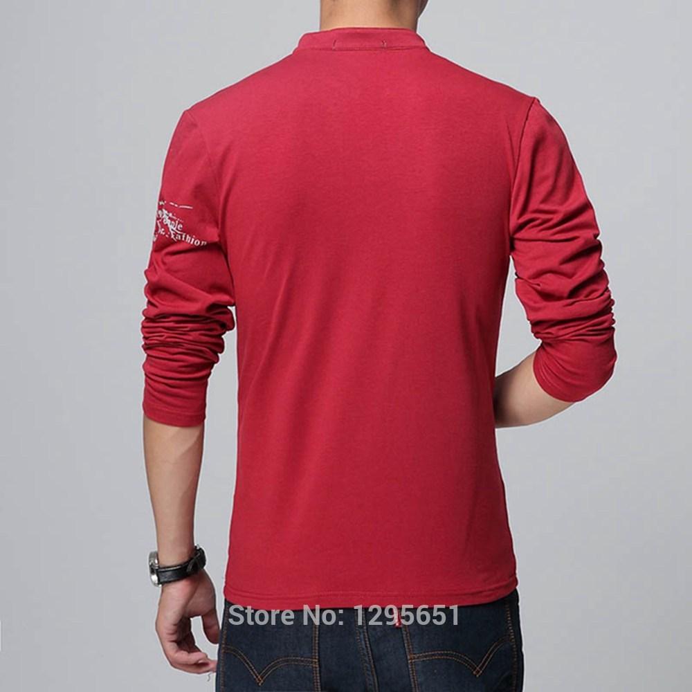 Black t shirt red collar -  Stylish Stand Collar Men Casual Cotton T Shirt Long Sleeves Printed T Shirts