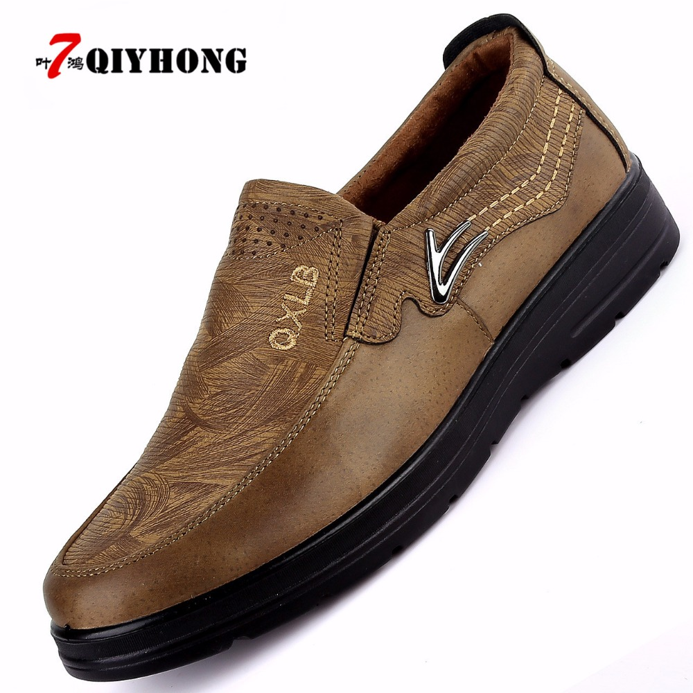 Image 3 - QIYHONG New Trademark Size 38 47 Upscale Men Casual Shoes Fashion Leather Shoes For Men Summer MenS Flat Shoes Dropshippingshoes forshoes for menshoes for men fashion -
