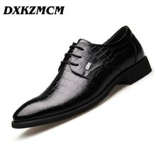 DXKZMCM Handmade Men dress shoes, brown black leather Men oxford shoes Men Flats Formal Shoes