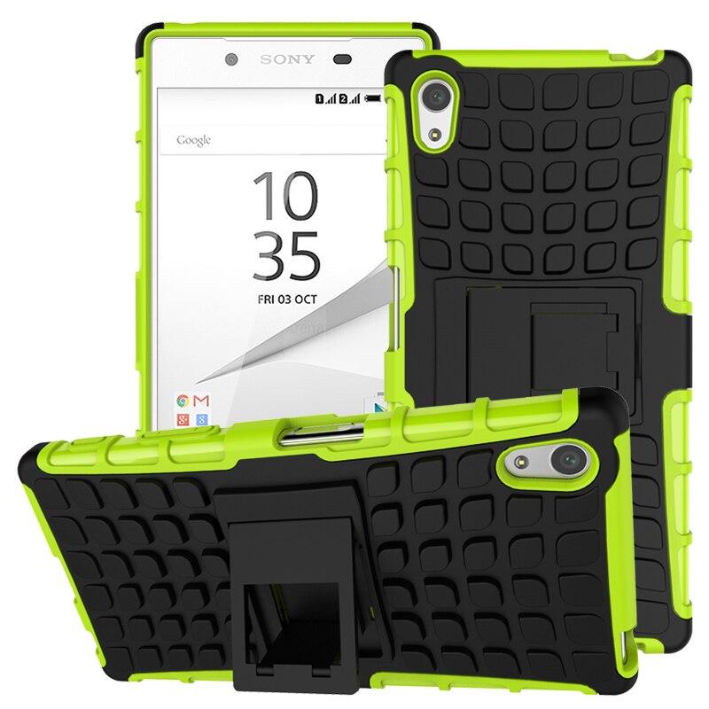 Casos de telefone Para SONY Xperia Z5 Dual E6633 E6603 E6683 E6653 Cobre Armadura de borracha Suporte suporte Para coque SONY Xperia z5 caso de volta