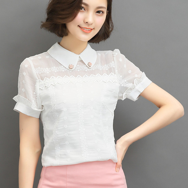 New Women Summer Casual Basic Lace Chiffon Blouse Fashion patchwork OL Work Wear Embroidery Top short sleeves White Plus Size