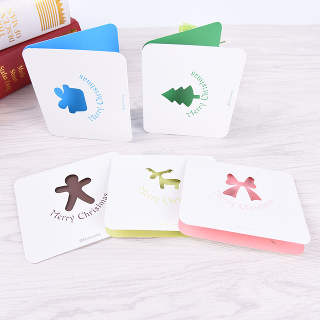 1pcs kawaii hollow out greeting card with envelope new year card message card christmas gifts 5
