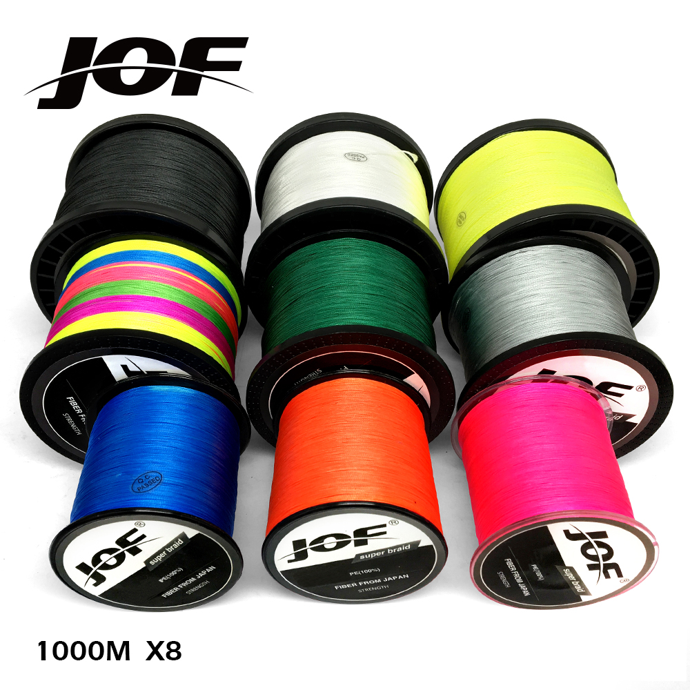 JOF Fishing Line 1000M 12LB-78LB 8 Strands Powerful Saltwater Braided Fishing Line PE 100% цена