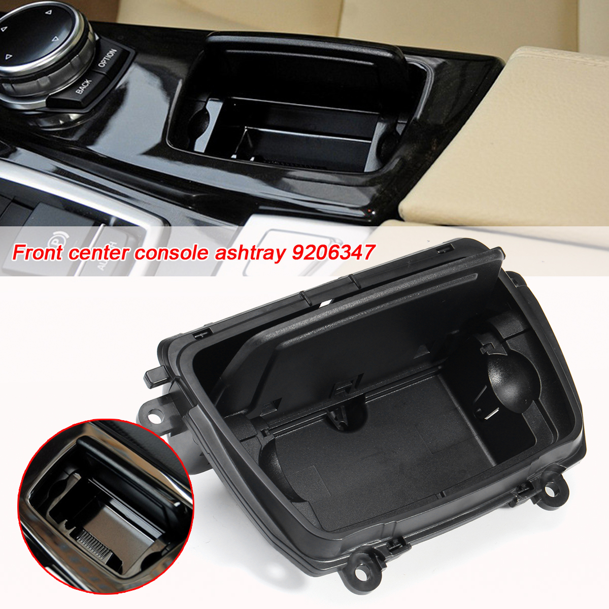 Audew Black Plastic Center Console Ashtray Assembly Box Fits For BMW 5 Series F10 F11 F18 520 51169206347