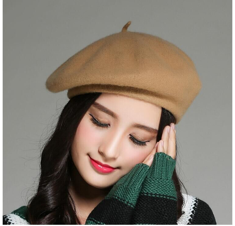 a5c2fc3e15b Brand Beret Hat French felt Beret 100% pure Wool Hat Beanie Women s Vintage  Gift Fashion winter Slouchy Warm Hat -in Fedoras from Apparel Accessories  on ...