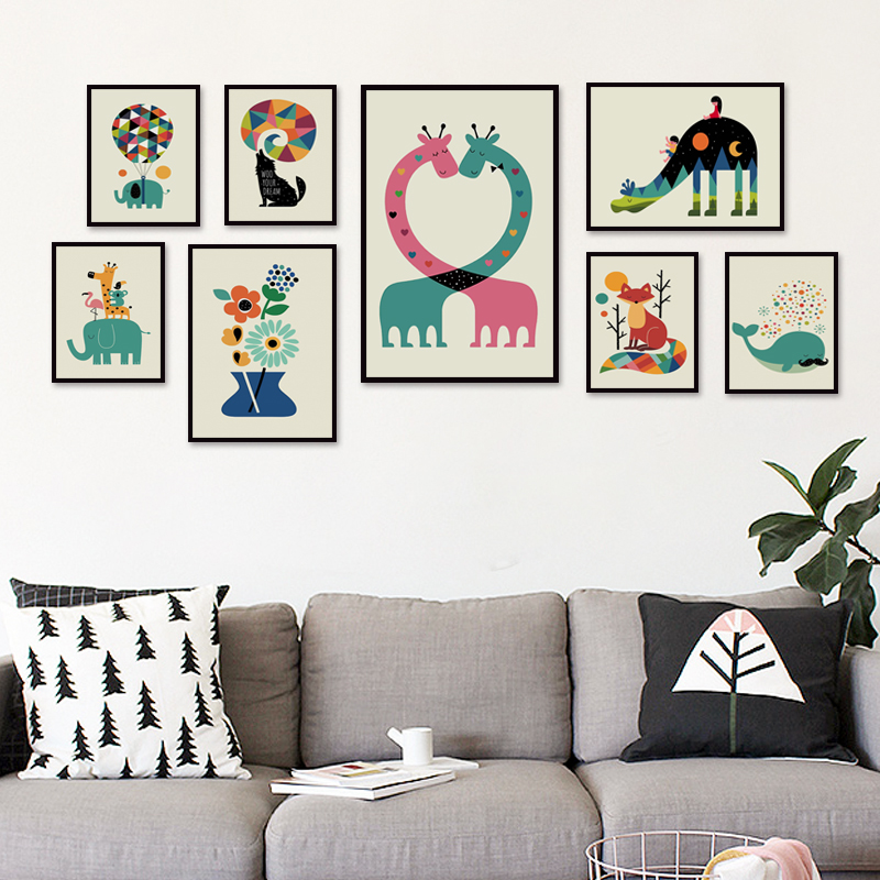 Simple Animal Cartoon Illustration A4 Canvas Art Painting Print Picture Poster Wall Children