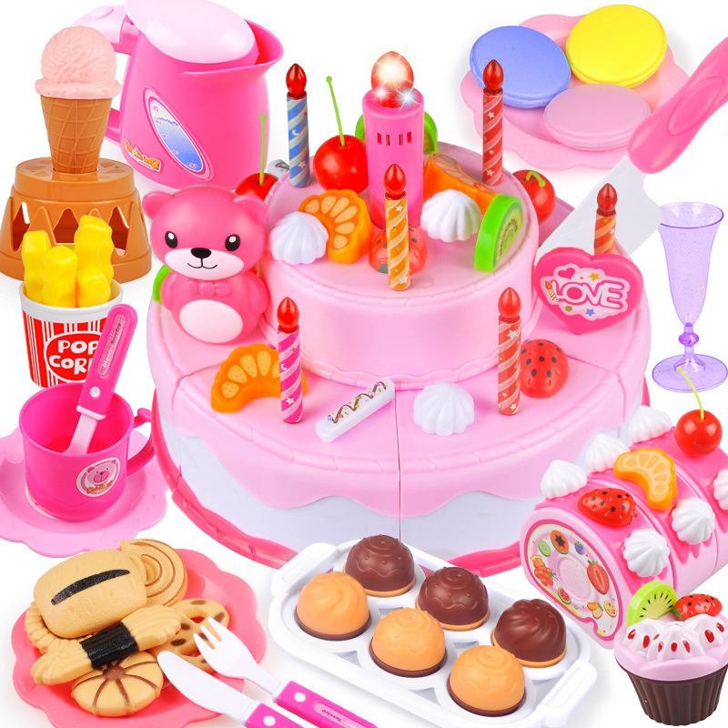 37-80PCS DIY Fruit Cutting Pretend Play Birthday Cake Girls Kitchen Food Toys Cocina De Juguete Pink Blue Toy Gifts For Children