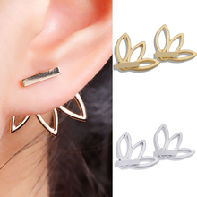 цены на Stud Earings Women Silver Gold Plated Flower Shaped Hollow Lotus Boho Jewelry Earrings Bar Double Sides Christmas Gift For Girls  в интернет-магазинах