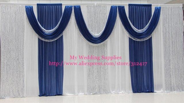 Hotsale 10x20 white/silver/royal blue backdrop curtains , sequin ...