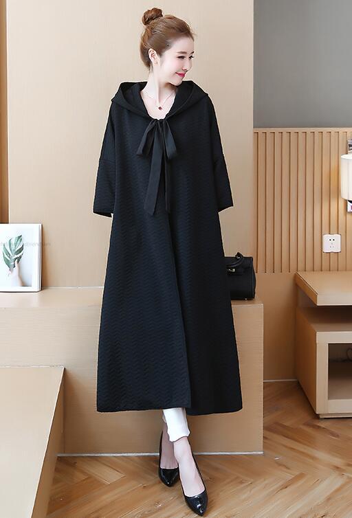 Pure Femmes Graisse Taille Black Grande Long Lâche Couleur Style Manteau Nouveau red De qWOntgBfp
