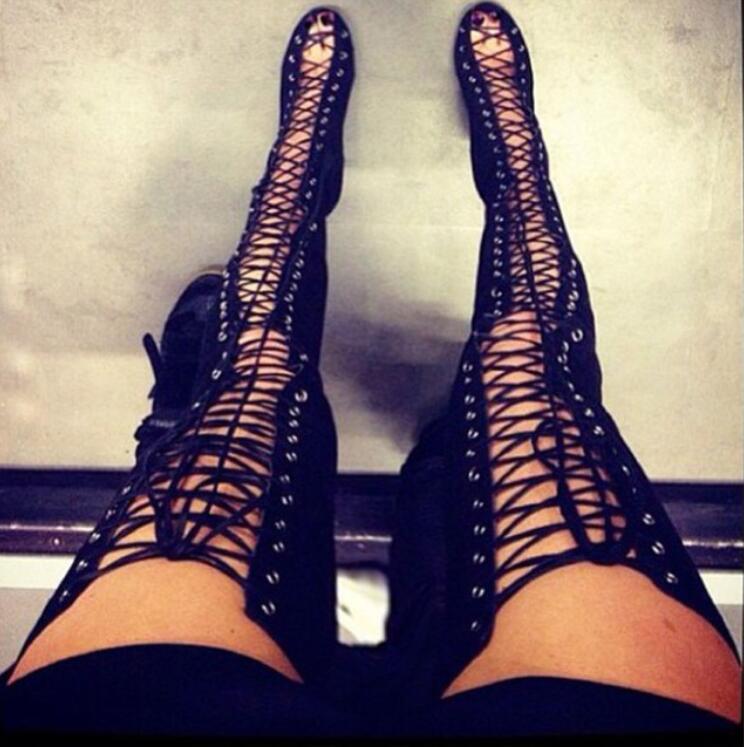 Verano Rojo Rodilla 3 Sandalias Tacón 4 Femenina Bota La Más Encajes Mujer De Alto 1 5 Recortes Peep Negro Muslo 2 Botas Zapatos Toe AnUw7RrA