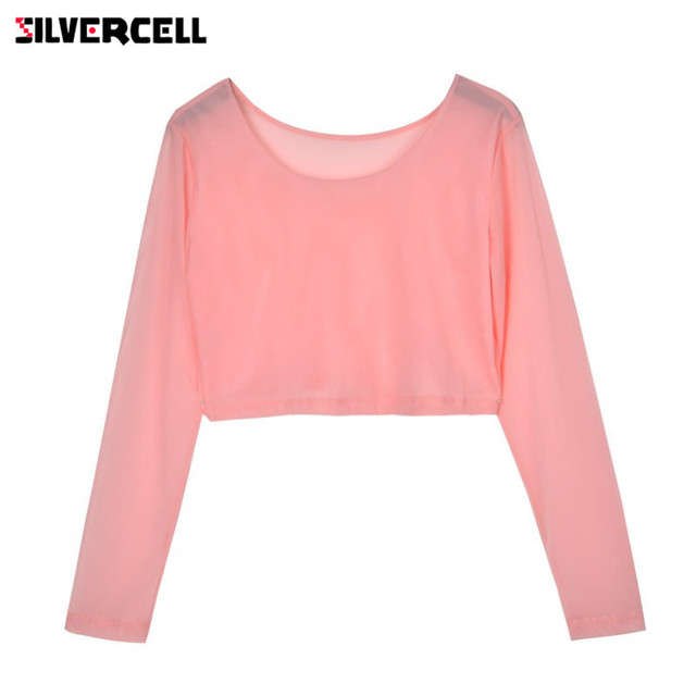 f6f5287a0c SILVERCELL Women Sexy Slim Semi-transparent Mesh Crop Tops Girl Long Sleeve  Short T-