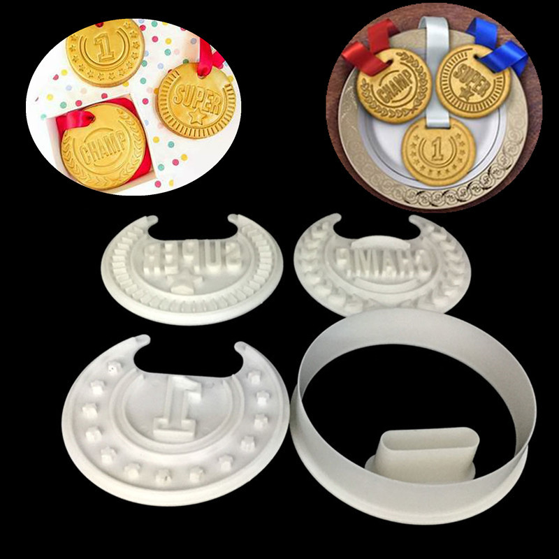 US $3 04 5% OFF|4PCS/Set Medals Shape Biscuits Mould Sugarcraft Cookie  Cutter Kitchen Baking Tool Cake Chocolate Making Decoration Tools-in Baking  &