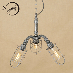 W stylu Vintage żelaza klasyczny srebrny lampa wisząca LED 3 wisząca lampa oprawa E27 110V 220V do kuchni światła łazienka gabinet bar|Wiszące lampki|   -