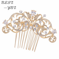 Wholesale Drop Zircon Hair Comb Gold Plated Bridal Women Hairpins Jewelry Wedding Hair Accessories Rhinestone Crystal