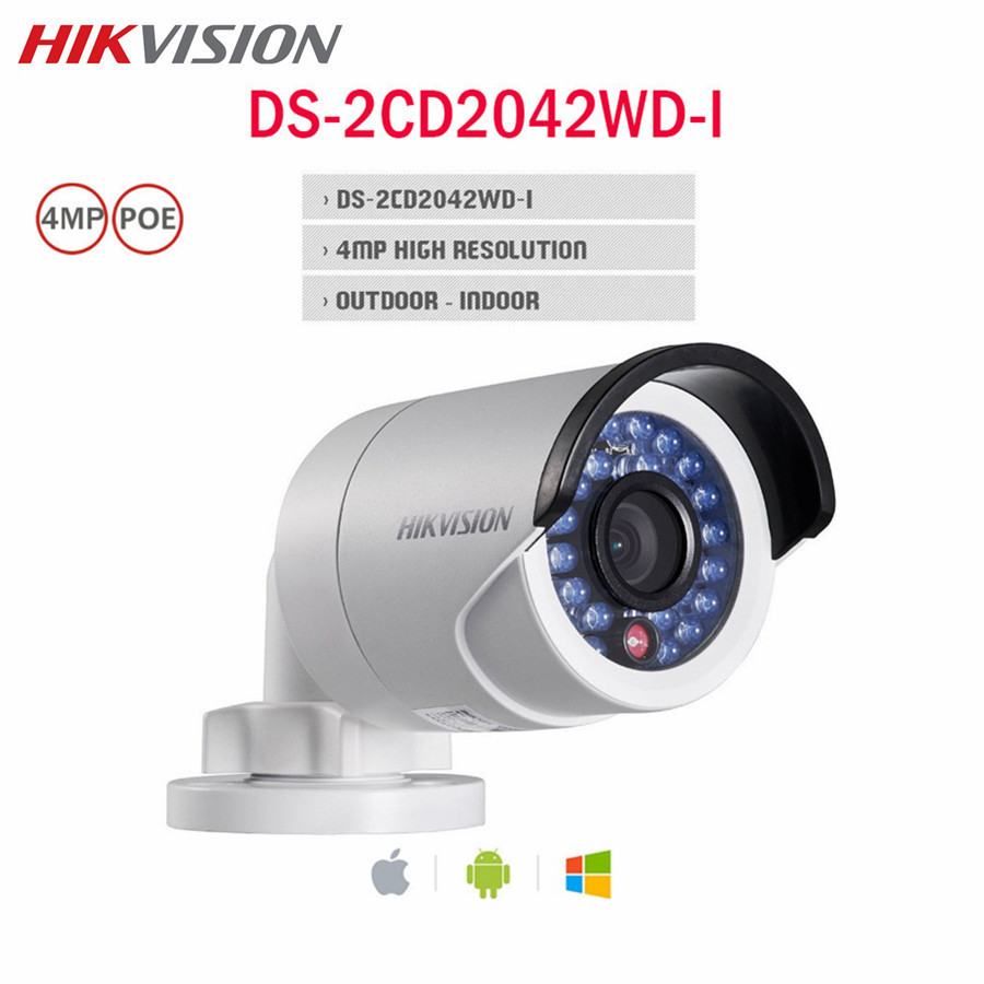 Hikvision 4MP POE IP Camera DS-2CD2042WD-I HD WDR IP67 IR 4mm ONVIF WDR Night version CCTV Surveillance Outdoor Bullet Camera hikvision cctv poe 4mp camera ds 2cd3345 i hd night version onvif exir turret wdr dome ip security camera replace ds 2cd2345 i