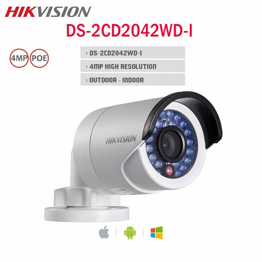 Hikvision 4MP POE IP Camera DS-2CD2042WD-I HD WDR IP67 IR 4mm ONVIF WDR Night version CCTV Surveillance Outdoor Bullet Camera
