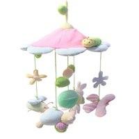 חיות חמודה פרח ורוד צעצועי מיטת תינוק יילוד תינוקות עגלת עיני הדרכה נייד בייבי רכב תליית מיטת ילדים צעצוע מוסיקה רעשנים