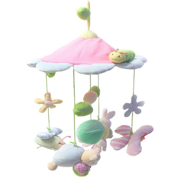 Cute Animals Pink Flower Baby Toys  Newborn Infant Stroller Bed Hanging Kid Toy Eyes Hands Training Mobile Baby Music Rattles