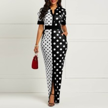 Clocolor African Dress Women Summer Short Sleeve Plus Size Long Maxi Vintage Polka Dot White Black Printed Retro Bodycon
