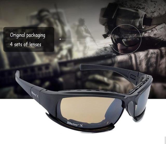 X 7  Men Military Tactical goggles sunglasses Gafas 4 Glasses Lenses sunglasses Glasses Glasses Outdoor windproof